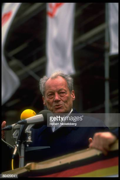 W German Social Dem Party honorary chmn Willy Brandt speaking stumping for SPD prior to upcoming GDR parliamentary elections