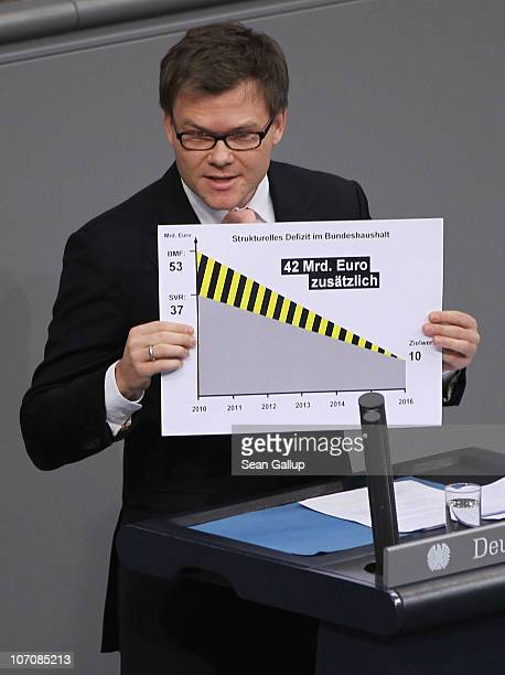 German Social Democrat and Bundestag member Carsten Schneider presents a graph illustrating German government borrowing during debates over the 2011...