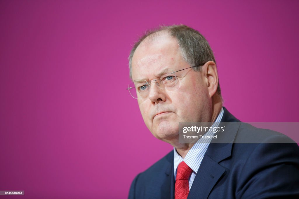 German Social Democrat (SPD) and candidate for Chancellor Peer Steinbrueck speaks to the media to announce a full disclosure of his supplementary income in recent years, mostly from paid speeches he gave, on October 30, 2012 in Berlin, Germany. Steinbrueck will run for Chancellor in 2013 elections, and has recently born heavy criticism for not detailing his supplementary income, which has totaled approximately EUR 1.25 million in the last three years.