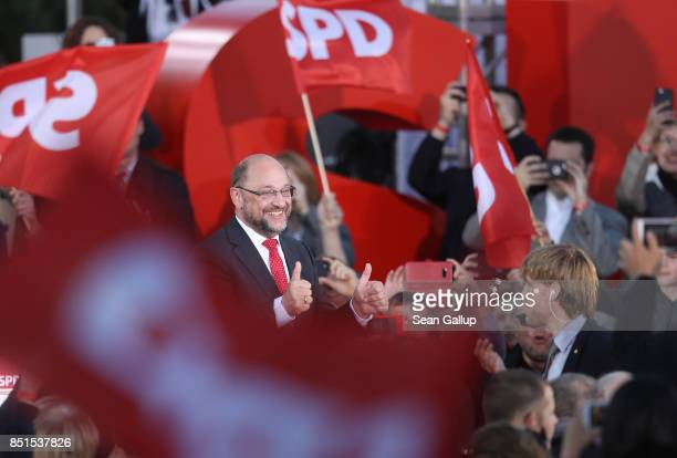 German Social Democrat and chancellor candidate Martin Schulz attends an SPD election rally on Gendarmenmarkt square two days before German federal...