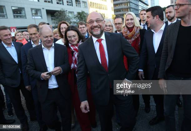 German Social Democrat and chancellor candidate Martin Schulz flanked by leading SPD members Olaf Scholz Andrea Nahles and Manuel Schwesig and...