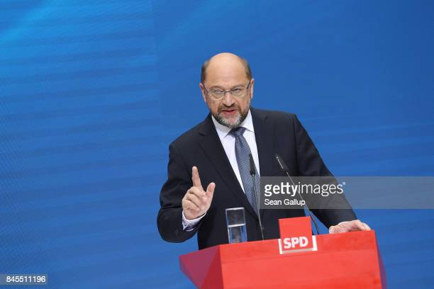 German Social Democrat and chancellor candidate Martin Schulz speaks to the media at a press conference at SPD headquarters on September 11 2017 in...