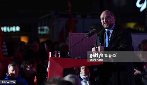 German Social Democrat and chancellor candidate Martin Schulz speaks during an election campaign stop on September 14, 2017 in Munich, Germany....