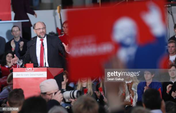 German Social Democrat and chancellor candidate Martin Schulz speaks at an SPD election rally on Gendarmenmarkt square two days before German federal...