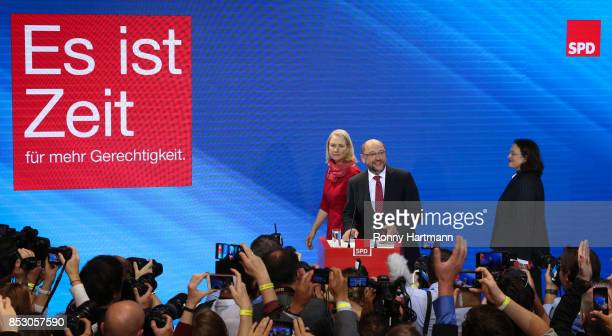 German Social Democrat and chancellor candidate Martin Schulz State Premier of MecklenburgWestern Pomerania Manuela Schwesig and Minister of Work and...