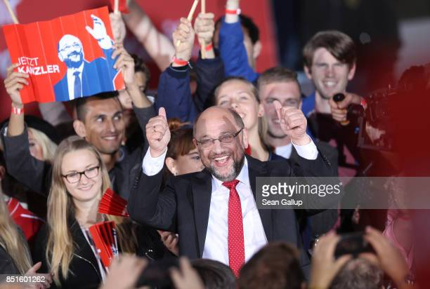 German Social Democrat and chancellor candidate Martin Schulz gestures to supporters after he spoke at an SPD election rally on Gendarmenmarkt square...