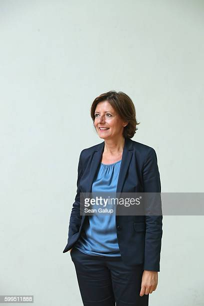 German Social Democrat and Governor of Rhineland-Palatinate Malu Dreyer poses during a brief portrait session prior to meeting with members of the...