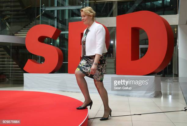 German Social Democrat Franziska Giffey, who is to become Germany's next Family Minister, arrives at a presentation by the SPD of its next government...