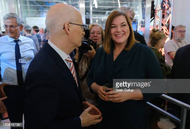 German Social Democrat incumbent Peter Tschentscher and German Greens party seond incumbent candidate Katharina Fegebank chat before appearing on ZDF...