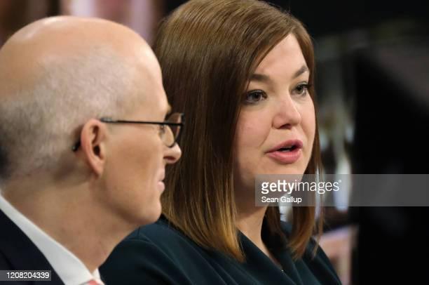 German Social Democrat incumbent Peter Tschentscher and German Greens party incumbent candidate Katharina Fegebank speak on ZDF television after...