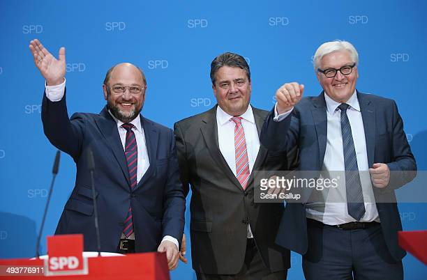 German Social Democrat Martin Schulz who has been leading in polls to become the next president of the European Commission celebrates with SPD...