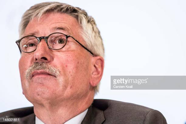 German Social Democrat Thilo Sarrazin presents his new book 'Europa Braucht Den Euro Nicht' to the media at the Adlon Hotel on May 22 2012 in Berlin...
