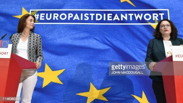 German Social Democratic Party's lead candidate for the European elections Katarina Barley and Andrea Nahles leader of the SPD address the election...