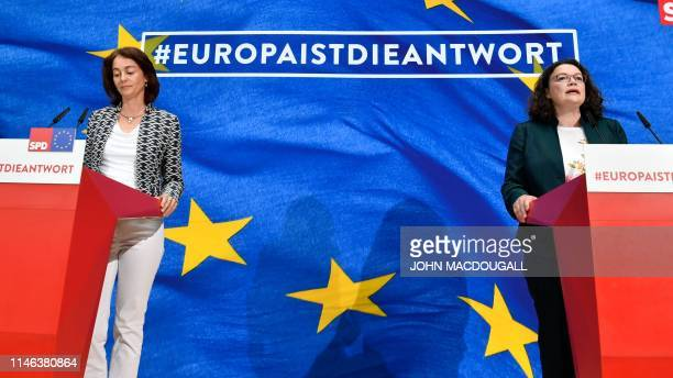 German Social Democratic Party's lead candidate for the European elections Katarina Barleyand Andrea Nahles leader of the SPD address the election...
