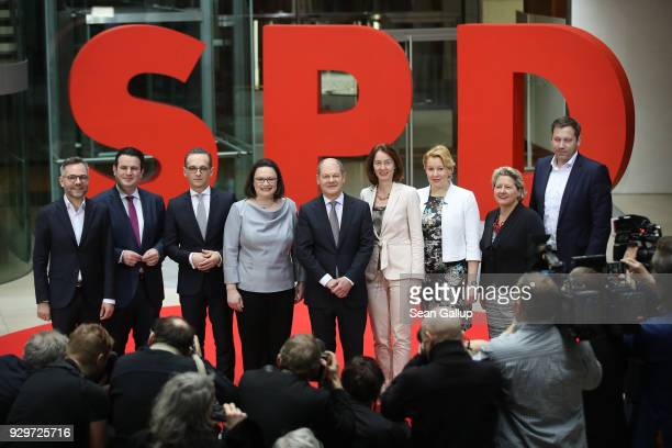 German Social Democrats leader Andrea Nahles and General Secretary Lard Klingbeil pose with SPD members of the next German government cabinet...