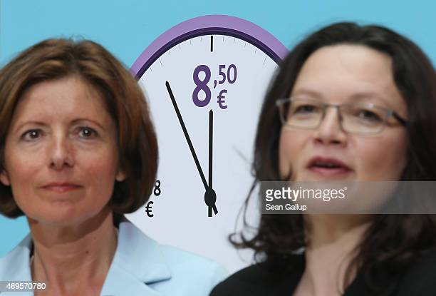 German Social Democrats Malu Dreyer , Governor of Rhineland-Palatinate, and Andrea Nahles, Minister of Work and Social Issues, speak to the emdia in...