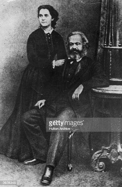 German social political and economic theorist Karl Marx with his eldest daughter