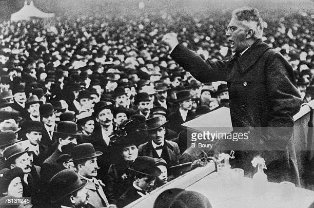 German Socialist Karl Liebknecht cofounder of the Spartacist League addresses a crowd in Berlin at the outbreak of the German Revolution 1918
