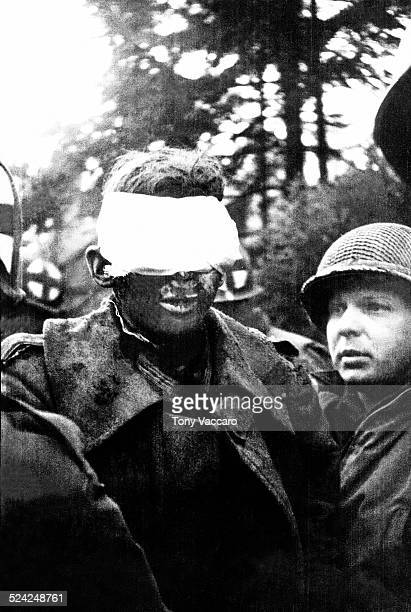 A German soldier blinded by a booby trap Battle of the Bulge Hürtgen Forest Germany World War II December 1944