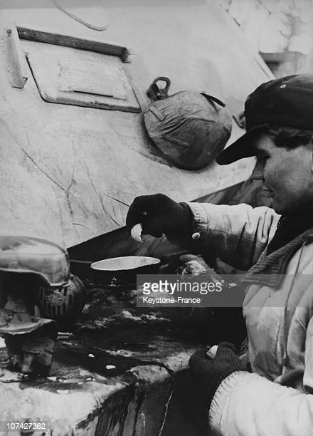 German Soldier Cooking Egg On A Tank In Germany On March 25Th 1944