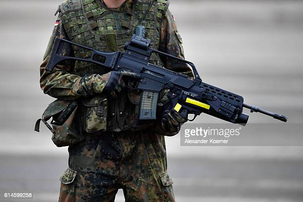 German soldier holds a machine gun grenade 40mm AG402 during the 'Land Operations' military exercises during a media day at the Bundeswehr training...