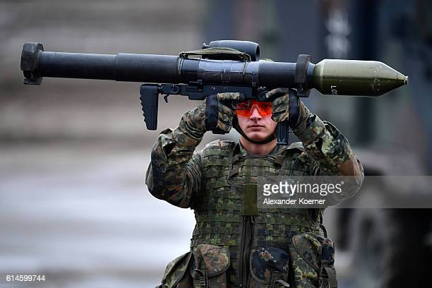 German soldier holds a rocket launcher during the Land Operations military exercises during a media day at the Bundeswehr training grounds on October...