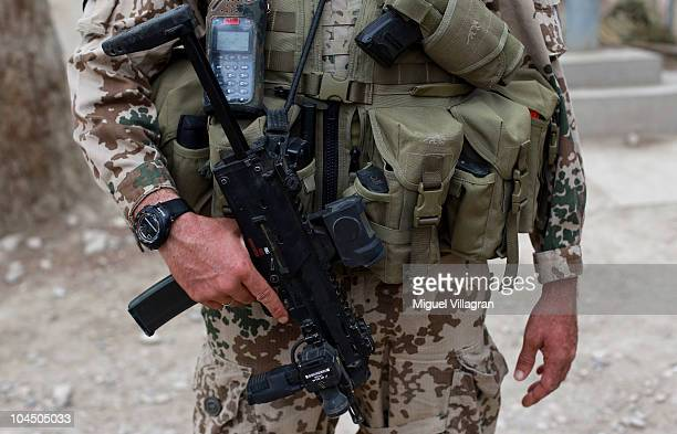 German soldier holds his machine gun at the local police headquarter on September 28 2010 in Balkh Afghanistan Germany has more than 4500 military...
