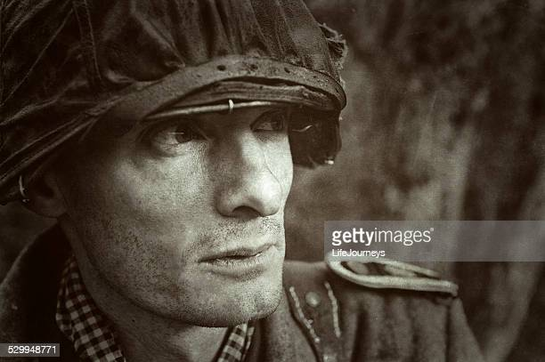 german soldier - wwii - portrait - battle ready - german military stock pictures, royalty-free photos & images