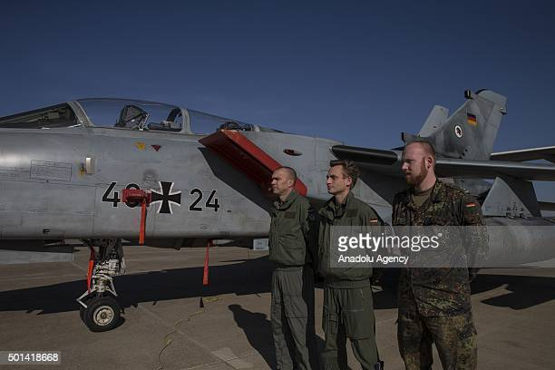 German soldiers and war crafts are seen at Incirlik Air Base in Adana Turkey during a presentation of war planes used in intervention against Daesh...