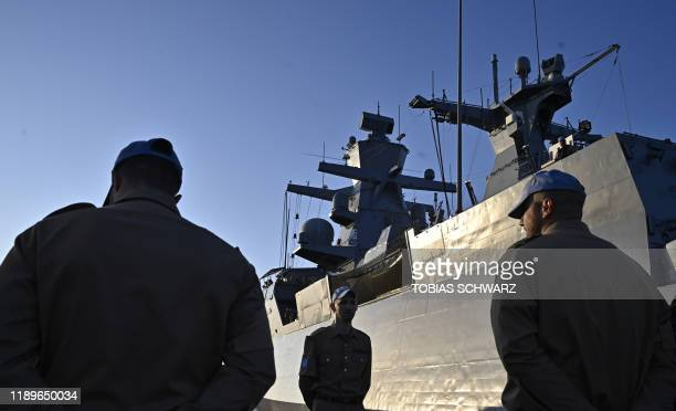 German soldiers at the United Nations Interim Force in Lebanon stands next to a German Navy corvette on December 19 2019 in the Cypriot port city of...