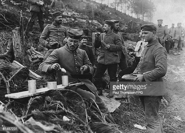 German soldiers cook up a rudimentary meal during World War I circa 1916