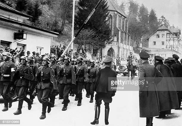 German soldiers cross border into Austria Anschluss March 1938 | Location Anschluss Austria