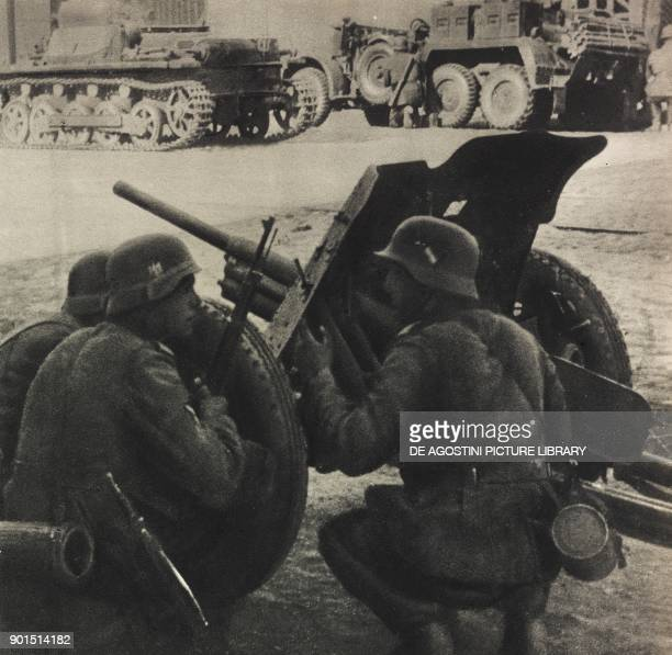 German soldiers fighting in the streets of Warsaw Poland World War II from L'Illustrazione Italiana Year LXVI No 39 September 24 1939