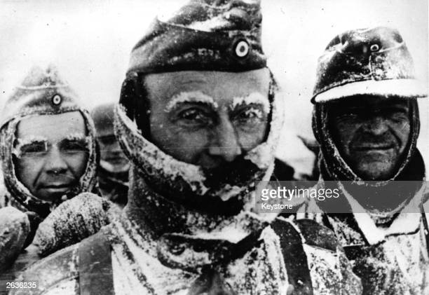 German soldiers grimace with the cold The terrible experiences suffered by the German Wehrmacht during the winter warfare on the Eastern Frost will...
