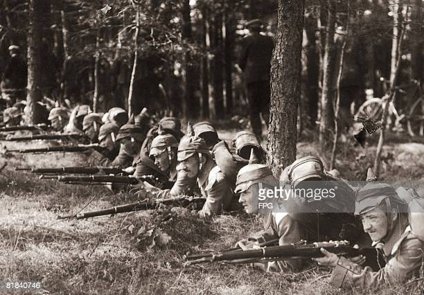German soldiers in a forest during World War I circa 1916
