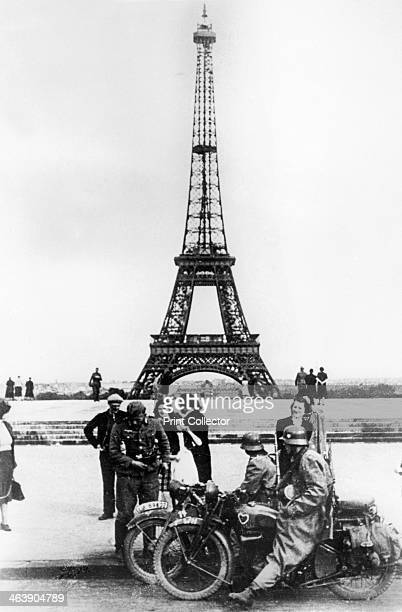 German soldiers in front of the Eiffel Tower Paris 1940 Paris fell to the Germans on 14 June 1940