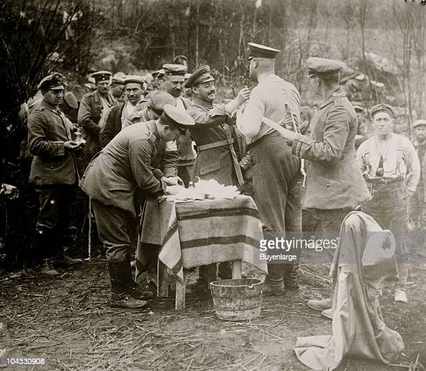 German soldiers line up to get vaccinations against cholera ca 1915