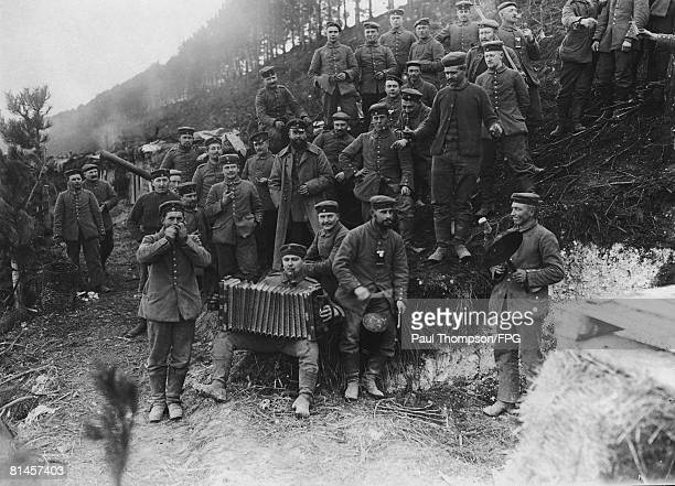 German soldiers make music with whatever 'instruments' they can find during World War I circa 1916