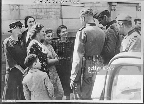 German Soldiers Meet Civilians in AlsaceLorraine