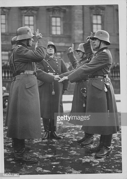 German soldiers of the Jaeger Corps taking an oath of allegiance in Berlin Germany circa 19391945