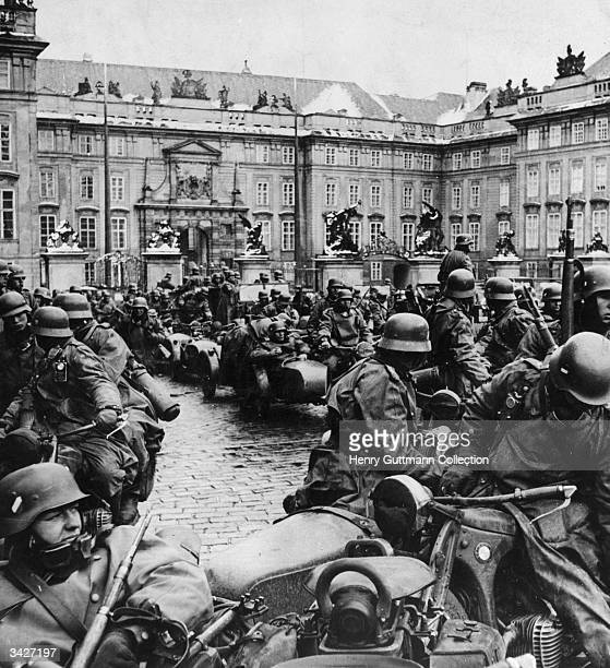 German soldiers on motorbikes during the invasion of Prague Czechoslovakia