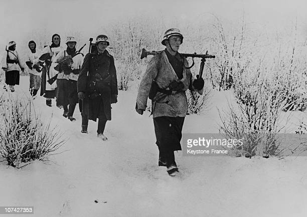 German Soldiers On The Frontline Walking In The Snow In Ussr On December 23Rd 1941