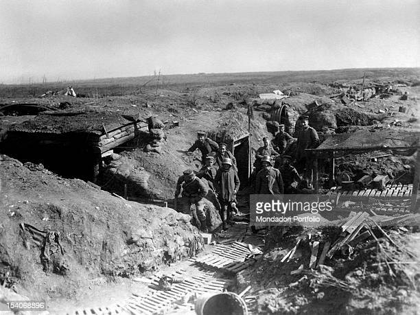German soldiers posing in a trench near Bullecourt France 1910s