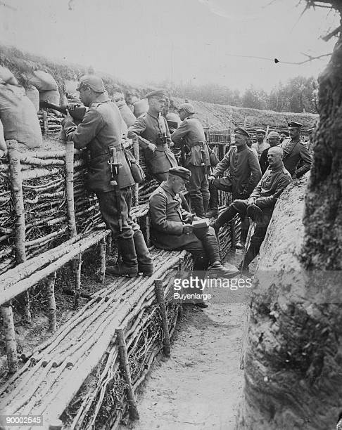 German Soldiers relax in their deep trenches which in the Stalemates of WWI have become a home in Russian Poland