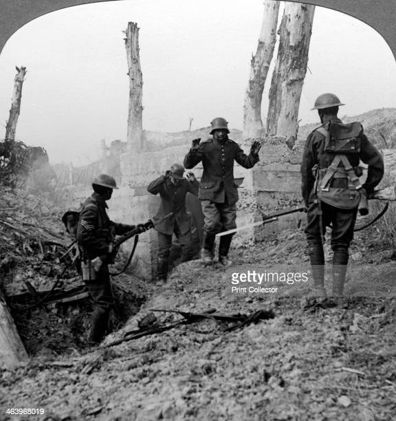 German soldiers surrendering, Bullecourt, France, World War I, 1914-1918. British and Australian troops captured Bullecourt from the Germans in May...