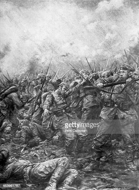 'German soldiers under fire from allied guns' Flanders World War I