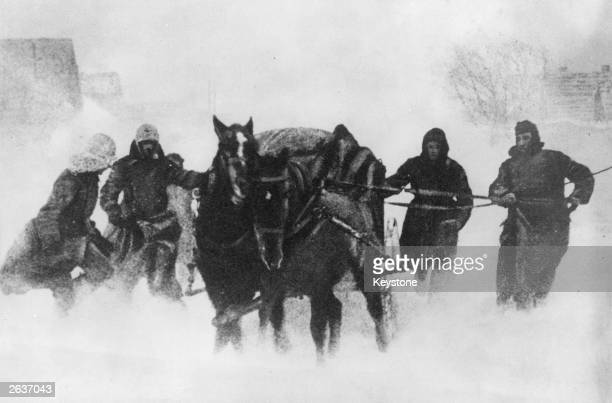 German soldiers using horse and cart in their retreat from the Ukraine during a snowstorm