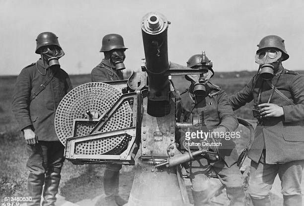 German soldiers with a quick-firing anti-aircraft gun used chiefly against low-lying aeroplanes.