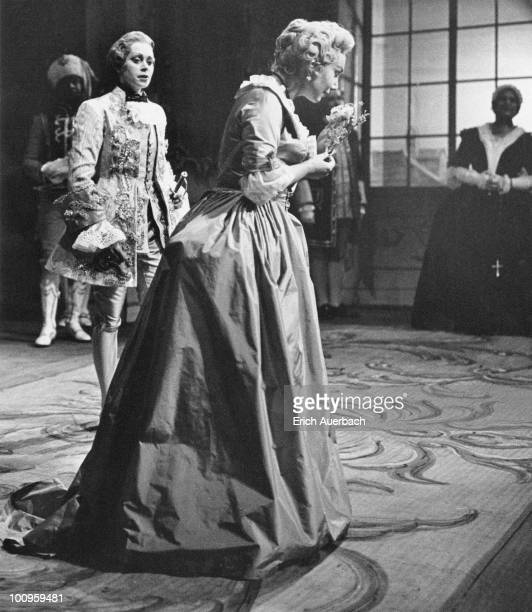 German soprano Anneliese Rothenberger appears in 'Der Rosenkavalier' at Glyndebourne with Swedish singer Elisabeth Soderstrom , 26th May 1959. This...