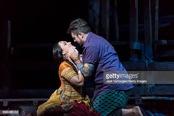 German soprano Diana Damrau and American tenor Matthew Polenzani perform at the final dress rehearsal prior to the premiere of the Metropolitan...